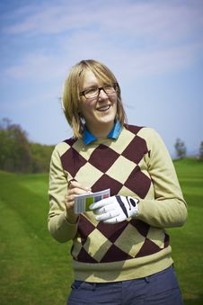 Free Golfer Woman Writing Handicap Royalty Free Stock Photo - 14184135