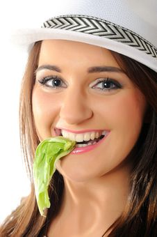 Young Pretty Woman Eating Green Salad Leaf Royalty Free Stock Photo