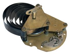 Free Part Of The Old Clock Mechanism With A Spring Diss Stock Photography - 14186172