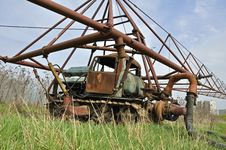 The Rusty Sprinkling Tractor Royalty Free Stock Photography