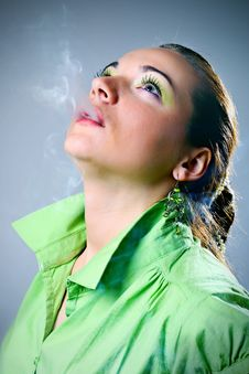 Free Woman Smoking Stock Image - 14186851
