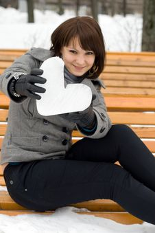 Free Girl Holding An Ice Heart Royalty Free Stock Image - 14187306