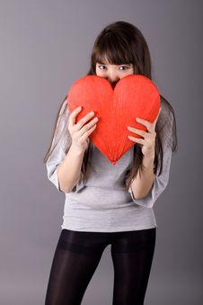 Free Beautiful Woman Holding Red Heart Stock Photo - 14187600