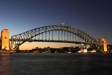 Free Sydney Harbour Bridge At Dusk Royalty Free Stock Image - 14187996