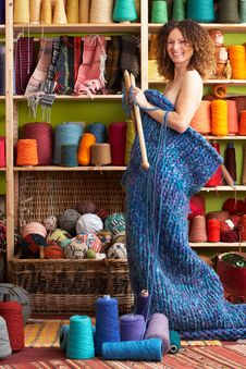 Naked Woman Standing In Knitted Item Royalty Free Stock Photo