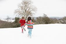 Group Of Children Having Fun In Snow Stock Photography