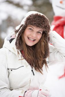 Free Teenage Girl Wearing Winter Clothes In Snow Stock Photography - 14188742