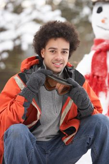 Free Man Wearing Winter Clothes In Snow Royalty Free Stock Photography - 14188747