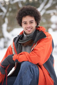 Free Man Wearing Winter Clothes In Snowy Landscape Stock Photography - 14188752