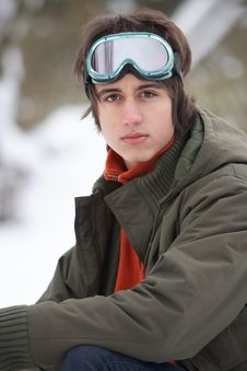 Free Teenage Boy Wearing Winter Clothes In Snow Stock Photography - 14188762
