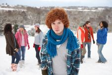 Free Young Friends Having Fun In Snowy Landscape Royalty Free Stock Photos - 14188828