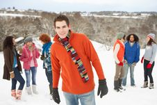 Free Young Friends Having Fun In Snowy Landscape Stock Photos - 14188833