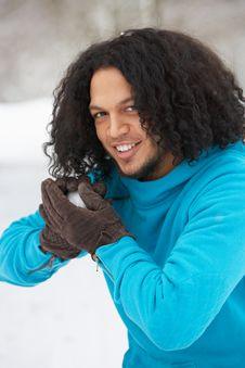 Free Man About To Throw Snowball Stock Photos - 14188873