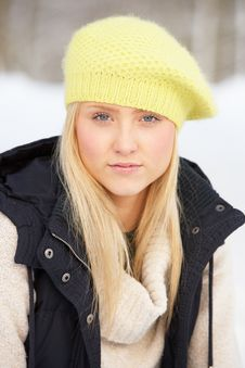 Free Teenage Girl In Snowy Landscape Royalty Free Stock Images - 14188889