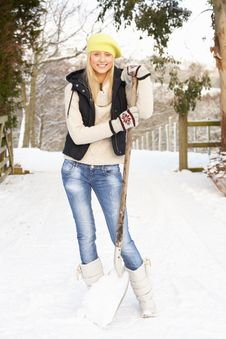 Free Teenage Girl Clearing Snow From Drive Stock Image - 14188891