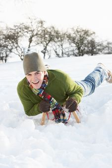 Free Man Riding On Sledge In Snowy Landscape Stock Image - 14188961