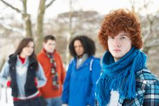 Free Teenage Friends Having Fun In Snowy Landscape Stock Photo - 14188970