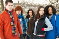 Free Teenage Friends Having Fun In Snowy Landscape Royalty Free Stock Photo - 14188975