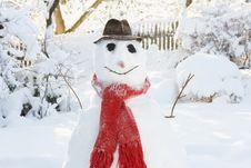 Free Snowman In Garden Royalty Free Stock Photos - 14188998