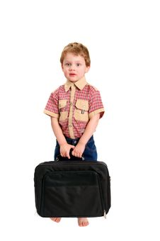 Little Boy With A Case On White Royalty Free Stock Photos