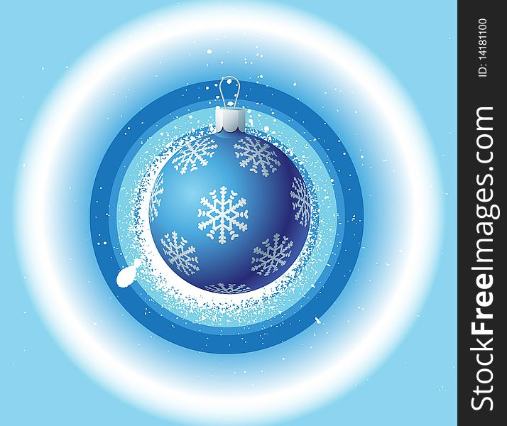 Christmas background and blue ball
