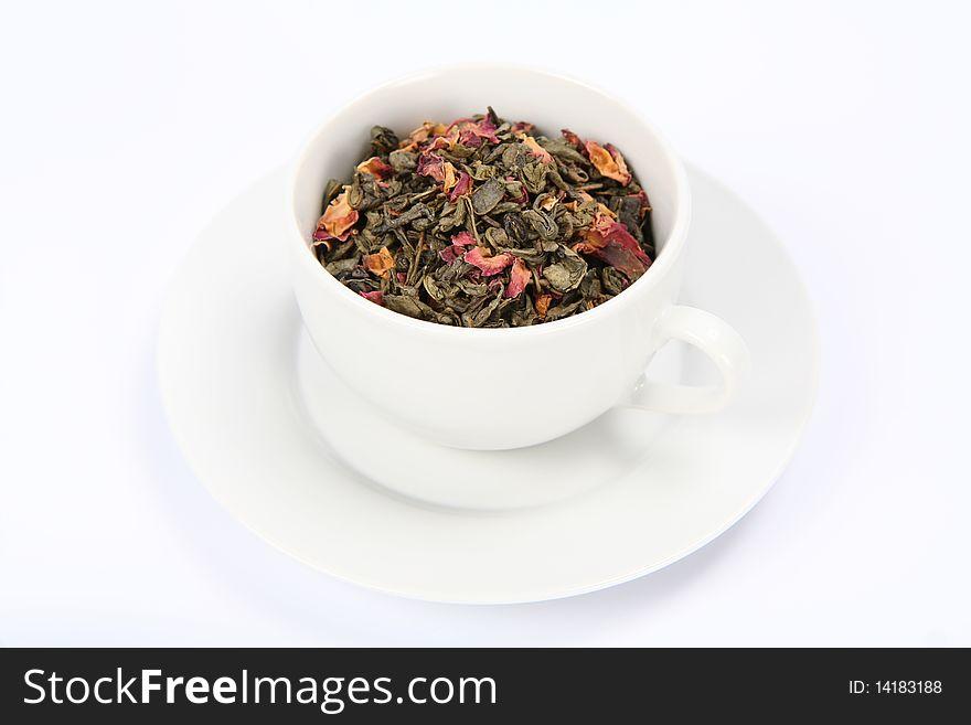 Cup of green tea leaves
