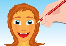 Free Drawing A Girl Face With A Pencil Stock Image - 14190321