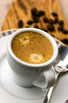 Free Cup Of Espresso With Coffee Beans Stock Photography - 14191182