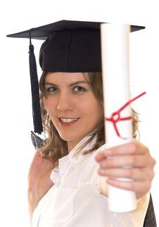 Free Young Woman Holding Graduate Diploma Royalty Free Stock Images - 14191239