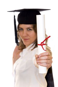 Young Woman Holding Graduate Diploma Stock Photo