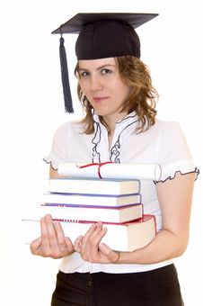 Free Young Student With Graduation Diploma And Books Stock Photos - 14191283