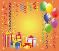 Free Balloon  With Streamers And Gift Boxes Royalty Free Stock Images - 14191439