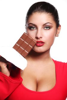 Free Woman And Bar Of Chocolate Stock Photography - 14191742