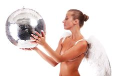 Young Angel And Disco Ball Stock Image