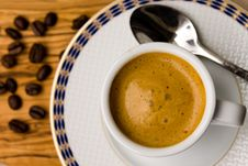 Free Cup Of Espresso With Coffee Beans Stock Photography - 14192132