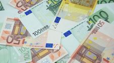 50, 100 And 200 Euro Banknotes Background Royalty Free Stock Photography