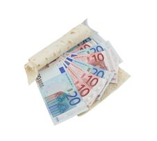 Free Lavash And Euro Banknotes Royalty Free Stock Photography - 14192637