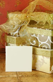 Free Gift Boxes And Blank Card Stock Image - 14192681
