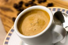 Free Cup Of Espresso With Coffee Beans Stock Photos - 14192703