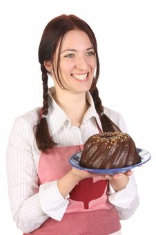 Free Housewife  With Bundt Cake Royalty Free Stock Image - 14192836