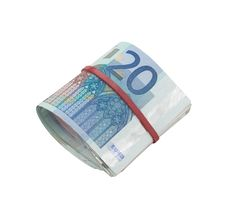 Euro Banknotes Rolled With A Rubber Royalty Free Stock Photo