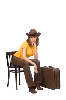 Free Girl With Vintage Suitcase Is Ready To Go Stock Image - 14193541