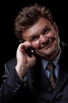 Businessman With Mobile Phone Royalty Free Stock Photos