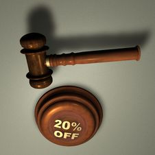 Free Gavel With 20 OFF Royalty Free Stock Image - 14194086
