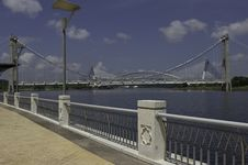 Scenic Putrajaya Lake And Bridge Stock Photo