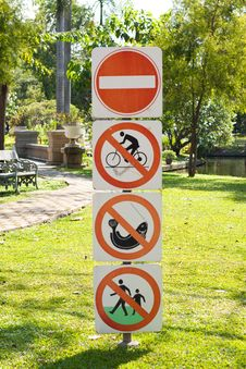 Free Warning Sign In The Garden Stock Photo - 14194350