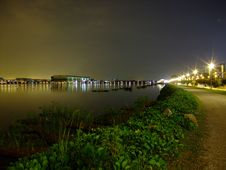 Pandan Reservoir With Walkway And Plants By Night Stock Photography