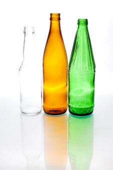 Three Colored Bottles Royalty Free Stock Image