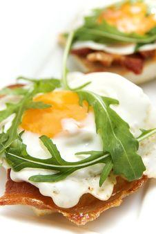 Open Bacon And Egg Sandwich Royalty Free Stock Photos