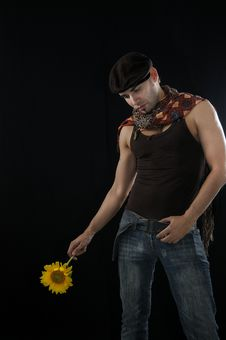 Free Young Man Holding Sunflower, Isolated Stock Photography - 14195112